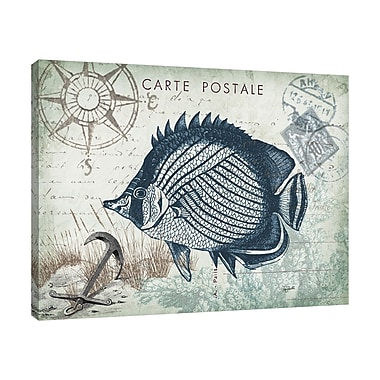 Breakwater Bay 'Seaside Postcard: Fish' Graphic Art Print on Wrapped Canvas; 12'' H x 15'' W
