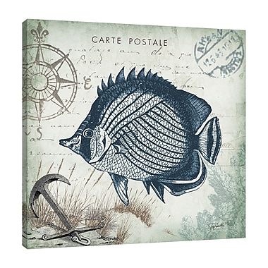 Breakwater Bay 'Seaside Postcard: Fish III' Graphic Art Print on Wrapped Canvas; 30'' H x 30'' W