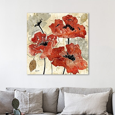 Charlton Home 'Silver and Red Poppies' Print on Wrapped Canvas; 12'' H x 12'' W