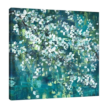 Charlton Home 'Teal Blossoms III' Print on Wrapped Canvas; 24'' H x 24'' W