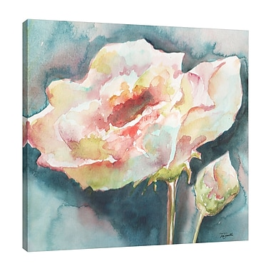 Charlton Home 'White Camelia' Watercolor Painting Print on Wrapped Canvas; 36'' H x 36'' W