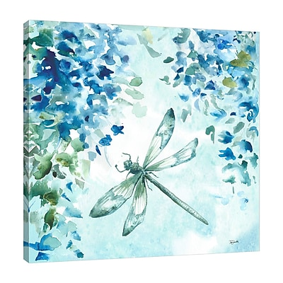 Charlton Home 'Wisteria and Dragonfly II' Graphic Art Print on Wrapped Canvas; 48'' H x 48'' W
