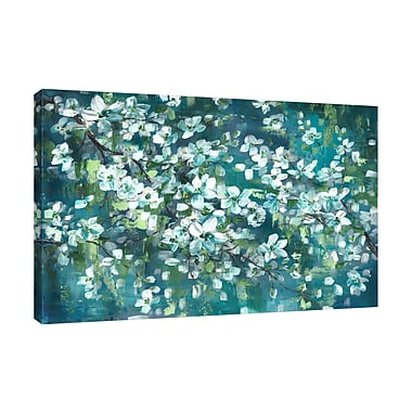Charlton Home 'Teal Blossoms II' Print on Wrapped Canvas; 24'' H x 36'' W