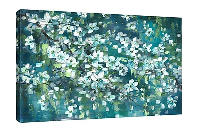Charlton Home 'Teal Blossoms II' Print on Wrapped Canvas; 28'' H x 42'' W