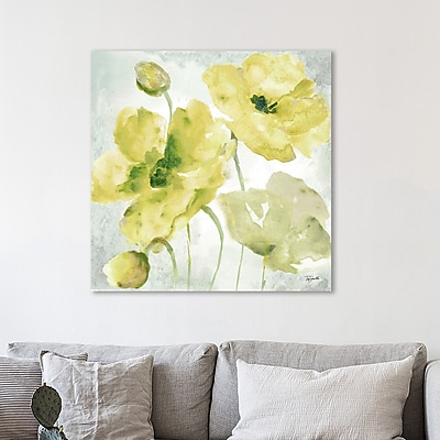 Charlton Home 'Yellow Poppies II' Watercolor Painting Print on Wrapped Canvas; 36'' H x 36'' W