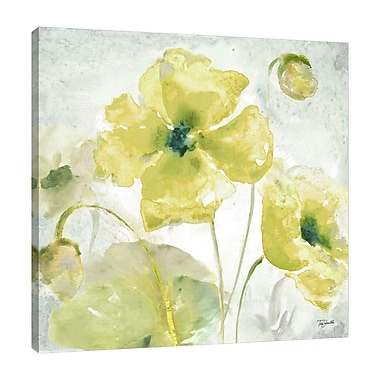 Charlton Home 'Yellow Poppies' Watercolor Painting Print on Wrapped Canvas; 36'' H x 36'' W