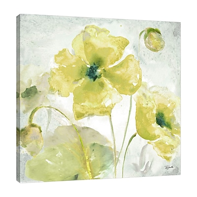 Charlton Home 'Yellow Poppies' Watercolor Painting Print on Wrapped Canvas; 30'' H x 30'' W