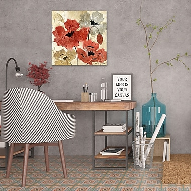 Charlton Home 'Silver and Red Poppies II' Print on Wrapped Canvas; 24'' H x 24'' W