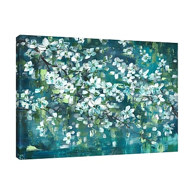 Charlton Home 'Teal Blossoms' Print on Wrapped Canvas; 30'' H x 40'' W