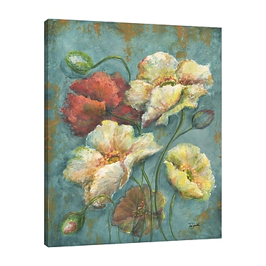 Charlton Home 'Turquoise Poppies' Print on Wrapped Canvas; 20'' H x 16'' W