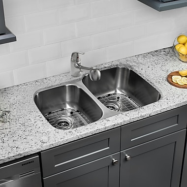 Gauge Stainless Steel 32'' x 20'' Double Basin Undermount Kitchen Sink w/ Faucet and Soap Dispenser
