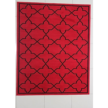 Charlton Home Buffalo Red Area Rug; 7'11'' x 9'10''