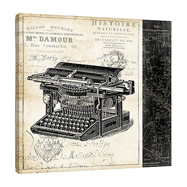 Ophelia & Co. 'Paris Typewriter' Graphic Art Print on Wrapped Canvas; 36'' H x 36'' W