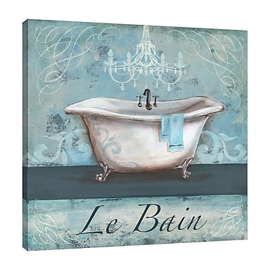Ophelia & Co. 'Aqua Bath: Le Bein' Graphic Art Print on Wrapped Canvas; 12'' H x 12'' W