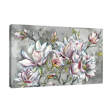 Ophelia & Co. 'Magnolia on Light Gray' Rectangle Print on Wrapped Canvas; 32'' H x 48'' W