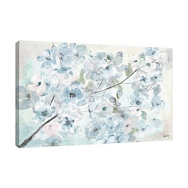 Ophelia & Co. 'Watercolor Blue Blossoms II' Print on Wrapped Canvas; 10'' H x 15'' W