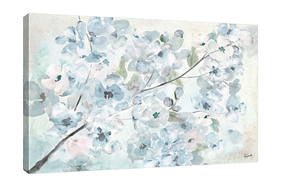 Ophelia & Co. 'Watercolor Blue Blossoms II' Print on Wrapped Canvas; 32'' H x 48'' W