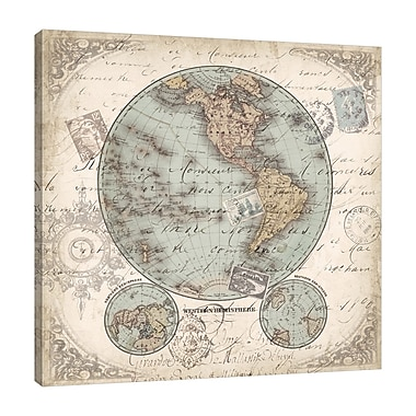 Fleur De Lis Living 'World Map: Western Hemisphere' Graphic Art Print on Wrapped Canvas