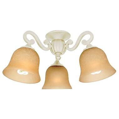 Fleur De Lis Living 3-Light Branched Fan Light Kit; Antique White Distressed