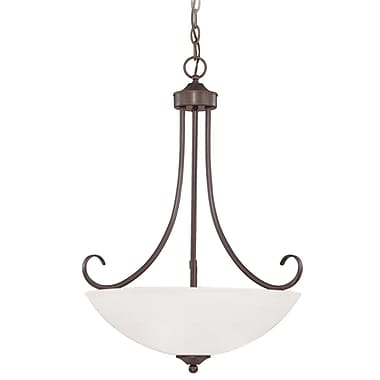 Fleur De Lis Living Ora 3-Light Bowl Pendant; Oiled Bronze with White Frosted Glass
