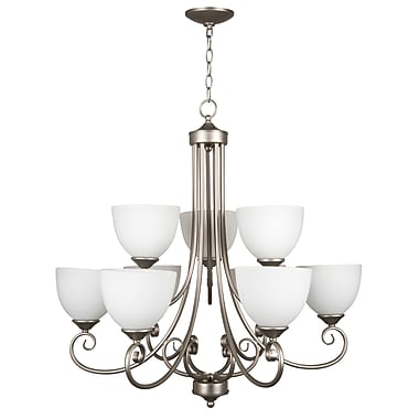 Fleur De Lis Living Ora 9-Light Shaded Chandelier; Satin Nickel with White Frosted Glass