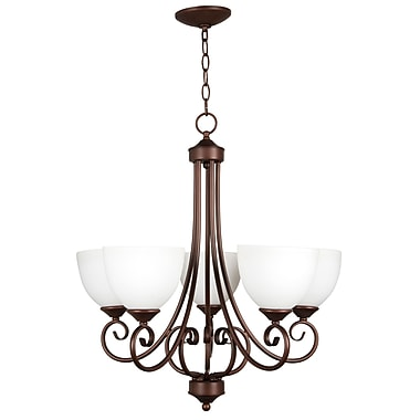 Fleur De Lis Living Ora 5-Light Shaded Chandelier; Oiled Bronze with White Frosted Glass