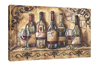 Fleur De Lis Living 'Wine Shelf' Print on Wrapped Canvas; 24'' H x 36'' W