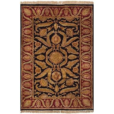 Fleur De Lis Living Ina Hand-Knotted Wool Black/Dark Red Indoor Area Rug