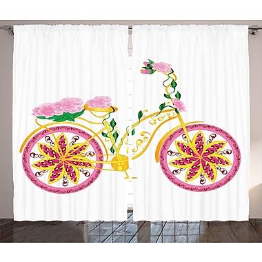 Zoomie Kids Lizbeth Bike And Swirling Floral Semi-Sheer Rod Pocket Curtain Panels (Set of 2)
