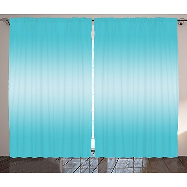 Zoomie Kids Timothy Ombre Open Blue Sky Semi-Sheer Rod Pocket Curtain Panels (Set of 2)