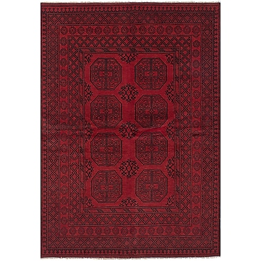 Bloomsbury Market Bridges Traditional Hand Knotted Wool Red Fringe Border Area Rug
