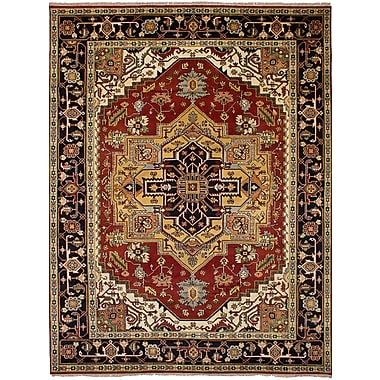 Bloomsbury Market Briggs Traditional Geometric Hand Knotted Wool Red Area Rug