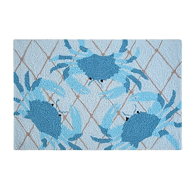 Highland Dunes Nazia Netted Crabs Coastal Blue Area Rug