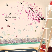 Walplus Spring Flowers and Butterflies Wall Decal