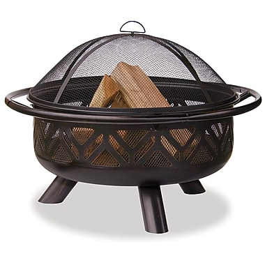 "Blue Rhino 36"" Wide Oil Rubbed Bronze Fire Bowl With Geometric Design Black/Steel (WAD1009SP)"