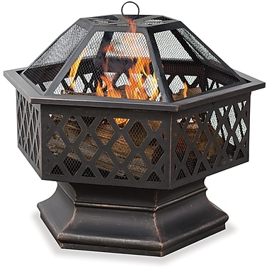 Blue Rhino Hex Shaped Fire Bowl With Lattice Design Black/Steel (WAD1377SP)