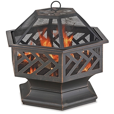 Blue Rhino Wood Burning Outdoor Fire Bowl With Geometric Design Black/Steel (WAD1576SP)