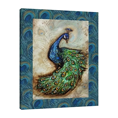 Bloomsbury Market 'Peacock w/ Border' Print on Wrapped Canvas; 15'' H x 12'' W