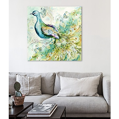 Bloomsbury Market 'Bohemian Peacock I' Print on Wrapped Canvas; 12'' H x 12'' W