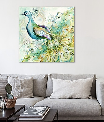 Bloomsbury Market 'Bohemian Peacock I' Print on Wrapped Canvas; 24'' H x 24'' W