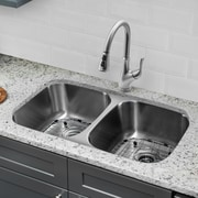 Gauge Stainless Steel 32'' x 19'' Double Basin Undermount Kitchen Sink w/ Faucet and Soap Dispenser