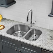 Gauge Stainless Steel 32'' x 21'' Double Basin Undermount Kitchen Sink w/ Faucet and Soap Dispenser