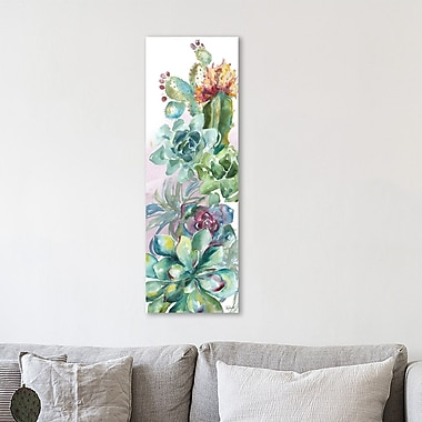 Bungalow Rose 'Succulent Garden I' Print on Wrapped Canvas; 60'' H x 20'' W