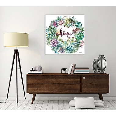 Bungalow Rose 'Succulent Wreath: Home' Print on Wrapped Canvas; 36'' H x 36'' W