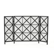 Home Loft Concepts Bogar 3 Panel Iron Fireplace Screen; Black
