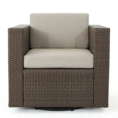 Ivy Bronx Jemaine Outdoor Swivel Club Chair w/ Cushions; Light Brown/Ceramic Gray