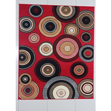 Ebern Designs Gramer Red Area Rug; Runner 2' x 7'2''