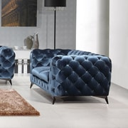 Rosdorf Park Binstead Chesterfield Loveseat; Blue