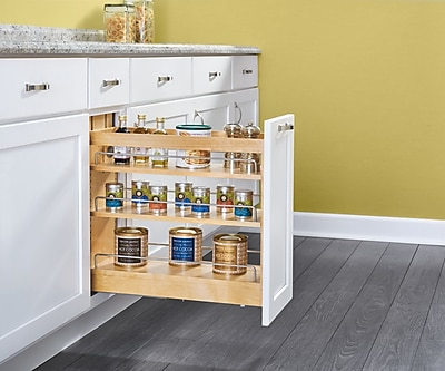 Rev-A-Shelf Wood Base Cabinet Pull Out Pantry; 23.38'' H x 8'' W x 21.62'' D