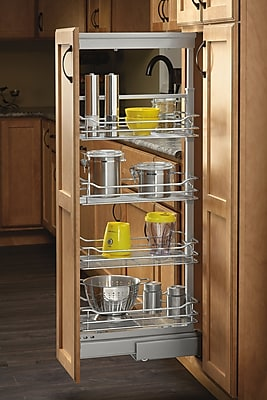 Rev-A-Shelf 4-1/8 in. Chrome 4 Basket Pull-Out Pantry w/ Soft-Close Slides